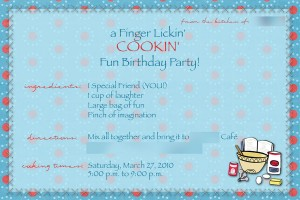Cooking Party - done recipe style